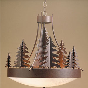 30 inch Woodland Chandelier (30 diameter x 26 tall with 13 trees - uses 10- 60 watt bulbs & weighs 59lbs supplied with honey onyx diffuser & 9 feet of heavy chain)